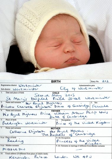 A rare find...Princess Charlotte Elizabeth Diana's birth certificate....May, 2015 from Lynda White.