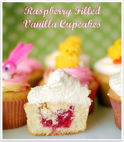 Raspberry Filled Vanilla Cupcakes with Butter Cream Frosting recipe at TidyMom.net