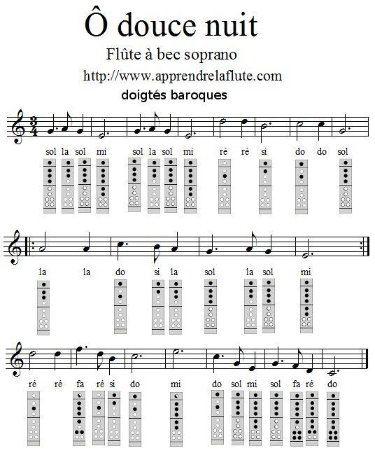 Ô douce nuit (chanson de noël) à la flûte à bec, doigtés baroques, Partition, doigtés et noms des notes