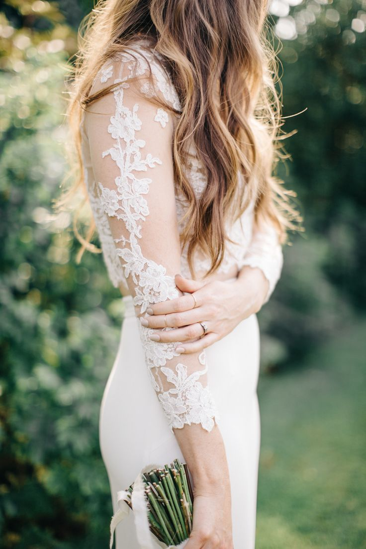 Lace sleeve two piece #weddingdress: Photography: M And J Photography - mandjphotos.com