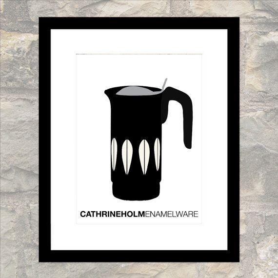 Cathrineholm Black Coffee Jug  Kitchen Art Print by paper4download