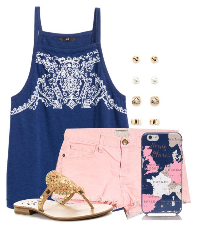 """""""When your outfit matches your phone🤗"""" by flroasburn ❤ liked on Polyvore featuring Current/Elliott, Kate Spade, Jack Rogers and Forever 21"""