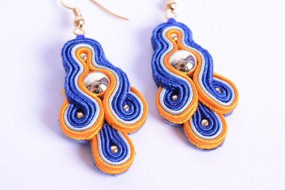 Soutache dangle earrings in navy orange and gold