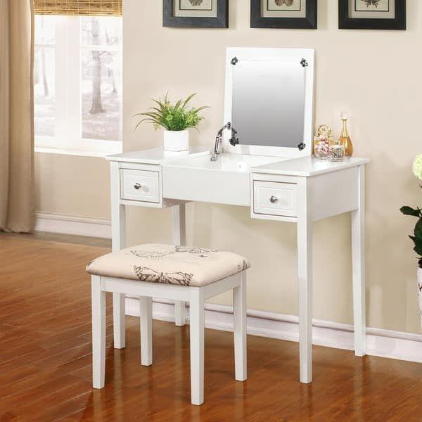 Linon Alessandra White Vanity Table With Mirror & Stool