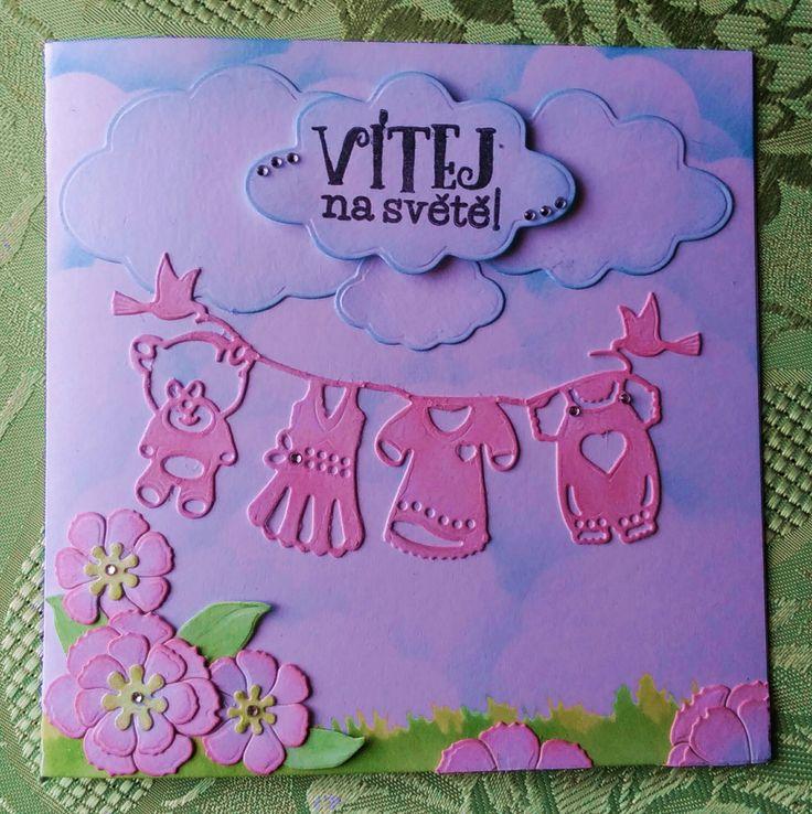 Přáníčko pro Dobrotety :) doufám, že se líbilo ♥ #forchild #papercard #handmade #cardmaking #paper #children #welcombaby #forgirl #itisgirl #pink