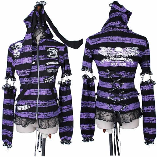 Women Purple Black Stripe Skull Punk Emo Goth Arm Warmers Hoody Jacket SKU-11401461
