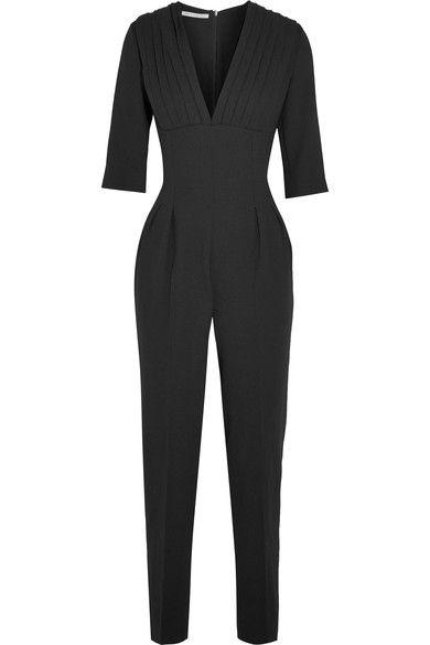 Black wool-crepe Concealed zip fastening along back 100% wool; lining: 100% silk Dry clean Imported