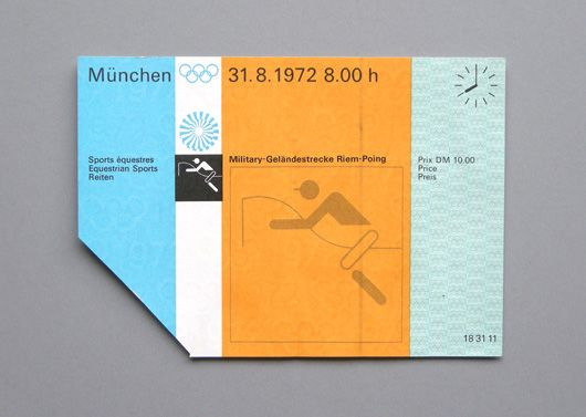 TICKET PASSES OF THE 1972 MUNICH OLYMPIC GAMES: Graphic Design, Olympics Tickets, 1972 Olympic, Color, Otl Aicher, Olympic Games, 1972 Munich