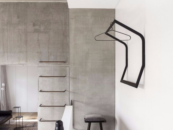 Wall mounted wooden coat rack SLED by Schnbuch design