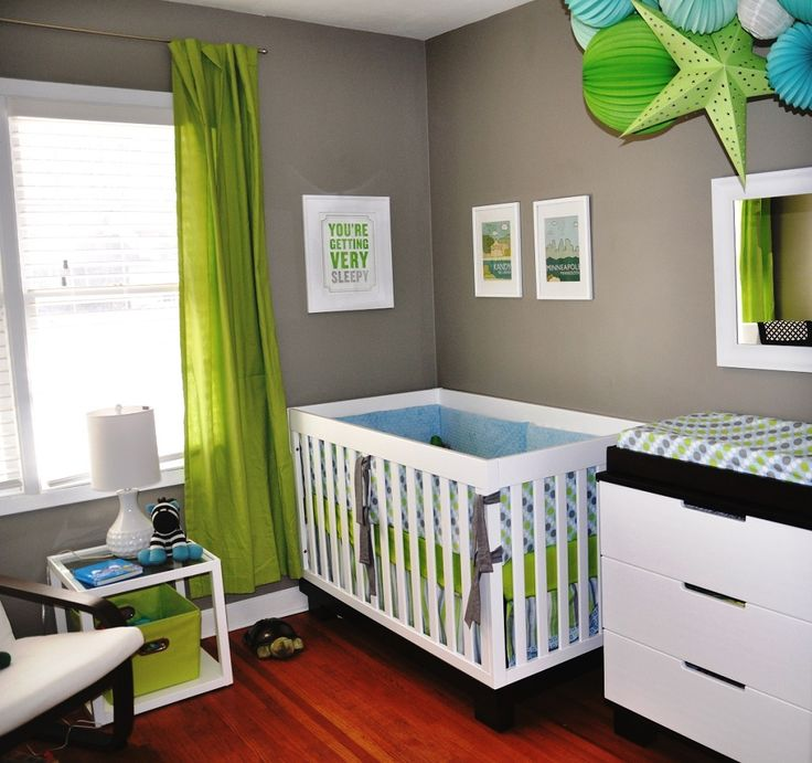 Awesome-DIY-Baby-Room-Decorating-with-Green-Curtain-and-White-Cabinet-as-Storage  - https://buyantlerchandelier.com/