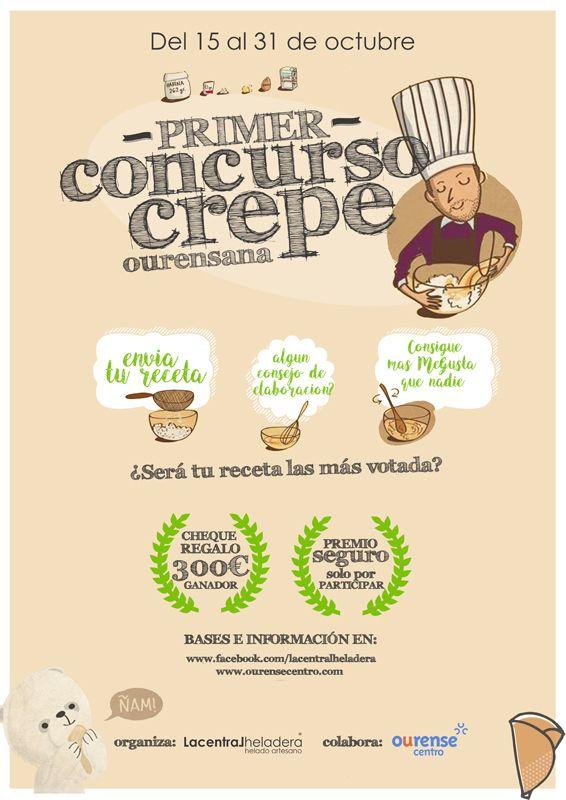 Participa en el I concurso crepe Ourense  El plazo de recepción de recetas de crepes saladas comienza el 15 de Octubre, siendo el 31 de octubre la fecha límite para su envío.   http://www.ourensecentro.com/noticias/