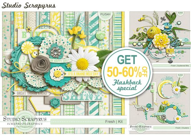 Save 50-60% on the Fresh Collection by Scrapyrus Designs. Together with the kit, the brand new extras make a fantastic collection. http://shop.scrapbookgraphics.com/Scrapyrus-Designs/