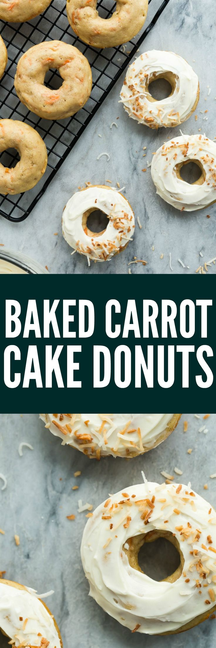 These Baked Carrot Cake Donuts with Cream Cheese Frosting are a real treat! They are healthier than traditional donuts and perfect for a Spring brunch or Easter dessert. Incredibly moist and flavourful!