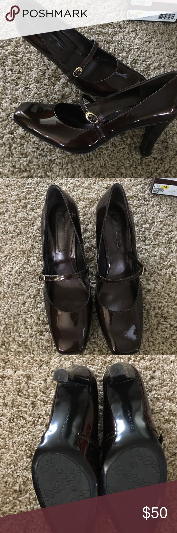 🔥Bandolino Dark Bronz Patent Heels 👠 Size 8.5 👠Gently used.  Great condition!!  Only wear is on heel bottom shown in pictures and small scuff on left shoe heel.  Super cute and great color!  👠 Bandolino Shoes Heels