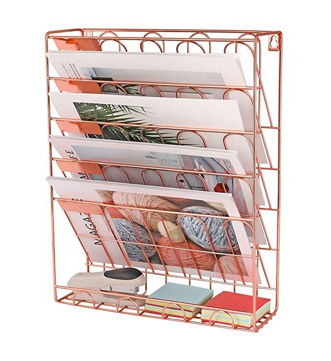New Superbpag Hanging File Organizer 6 Tier Wall Mount Document Letter Tray File Organizer Rose G Rose Gold Room Decor Gold Room Decor Hanging File Organizer