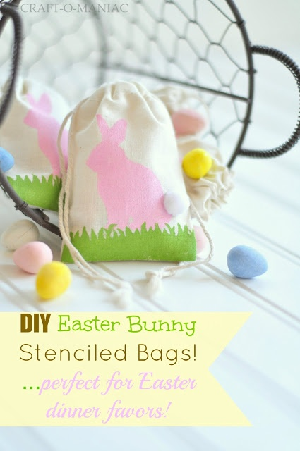 DIY Stenciled Easter favor bags www.craft-o-maniac.com