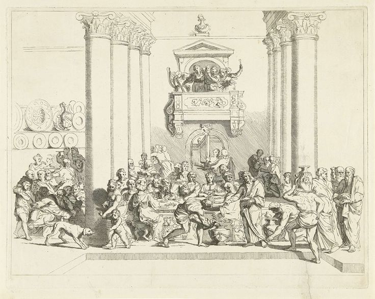 Franz Ertinger | Bruiloft te Kana, Franz Ertinger, Raymond de Lafage, 1689 | Tijdens het diner van de bruiloft te Kana laat Christus stenen vaten met water vullen, waarna hij het in wijn verandert. Aan tafel, in het midden, de bruid. Boven haar hoofd een duif en op het balkon een musicerend en zingend gezelschap. Joh. 2:1-11.