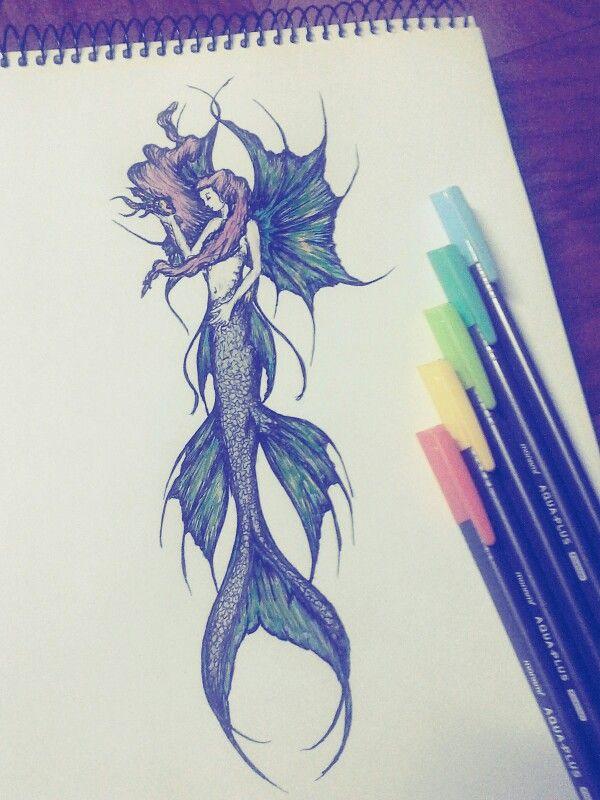 #sirena #color #shumpall #ilustracion #estilografo #tinte #acuareable