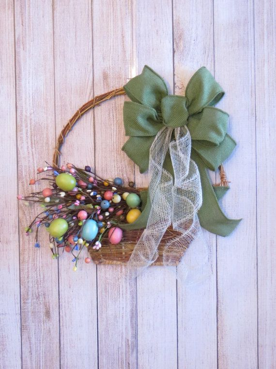 Rustic Easter Wreath Spring Wreath Easter Basket by Dazzlement, $39.00