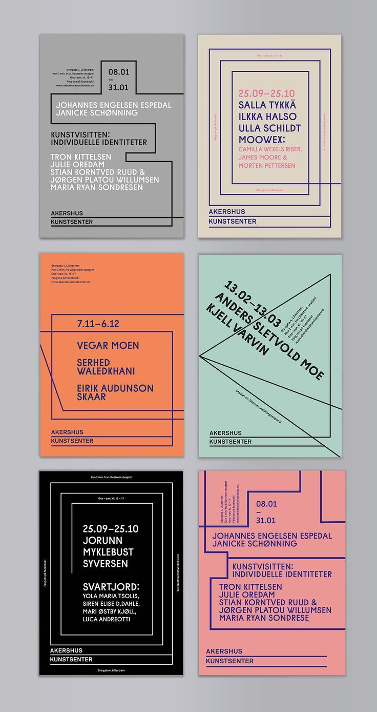 New exhibition material for Akershus Kunstsenter(AKS) - a contemporary Arts centre in Lillestrom, Norway. In the new graphic/typograhic design concept, the two lines in the logo are used continuously.