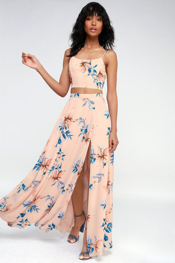 71f14a0a49 Barefoot at the Beach Light Peach Print Two-Piece Maxi Dress in 2019 ...