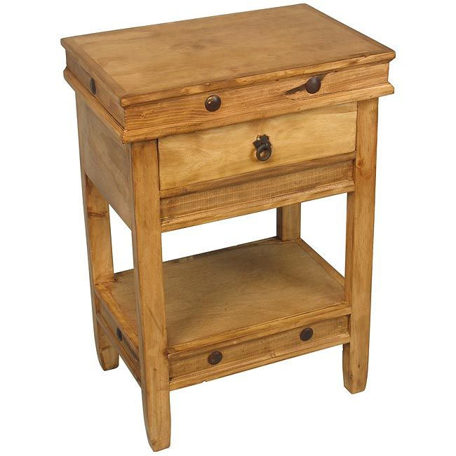 rustic look furniture. this rustic pine side table with one drawer and lower shelf works as a nightstand or an end the look is accented iron nail furniture n
