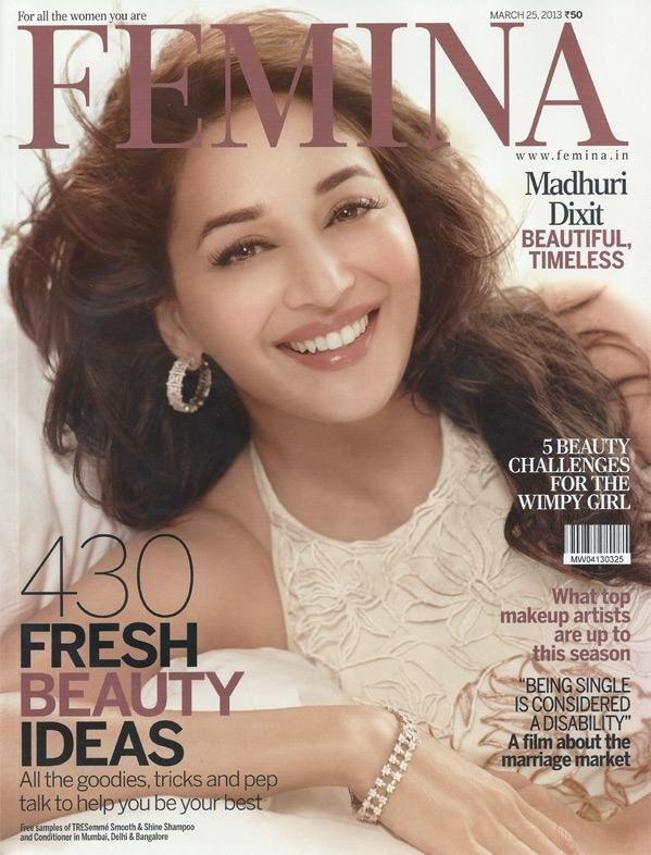 Madhuri Dixit on the Cover of Femina Magazine - March 2013.