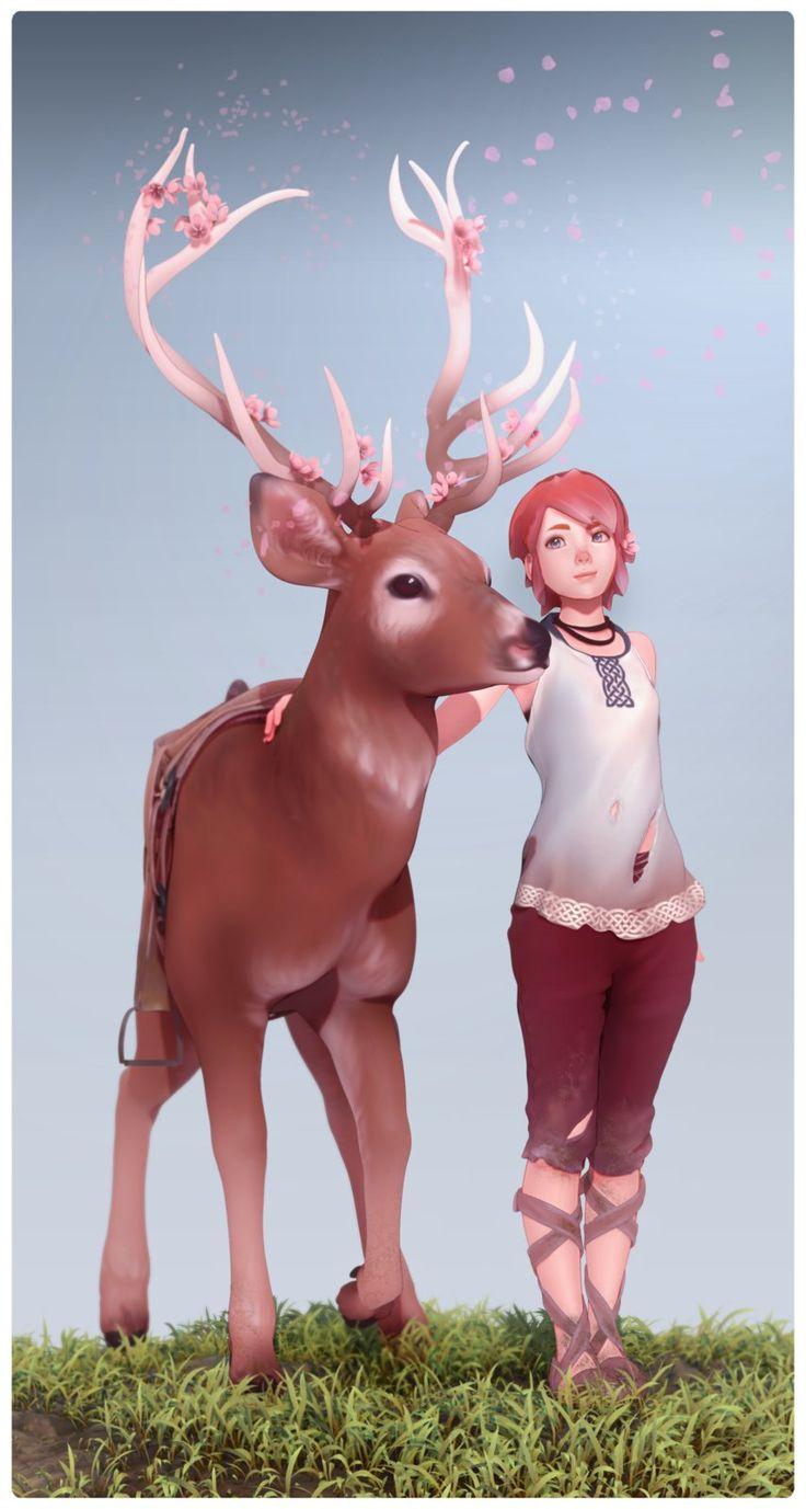 Deer & Girl, Blair Armitage on ArtStation at https://www.artstation.com/artwork/mqQWY