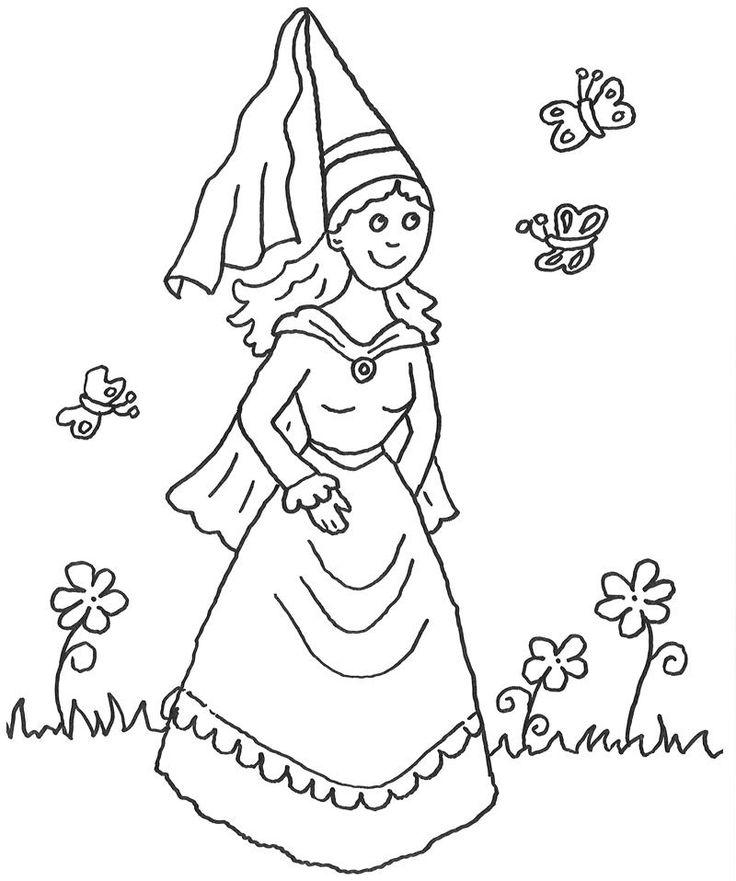 Ausmalbild Prinzessin: Kostenlose Malvorlage: Prinzessin und Schmetterlinge kostenlos ausdrucken