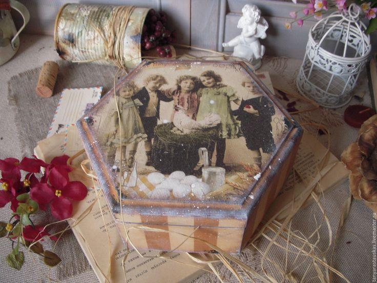 """Купить """"А la campagne"""" шкатулка - коричневый, шкатулка, в стиле кантри, деревенский стиль, винтаж"""