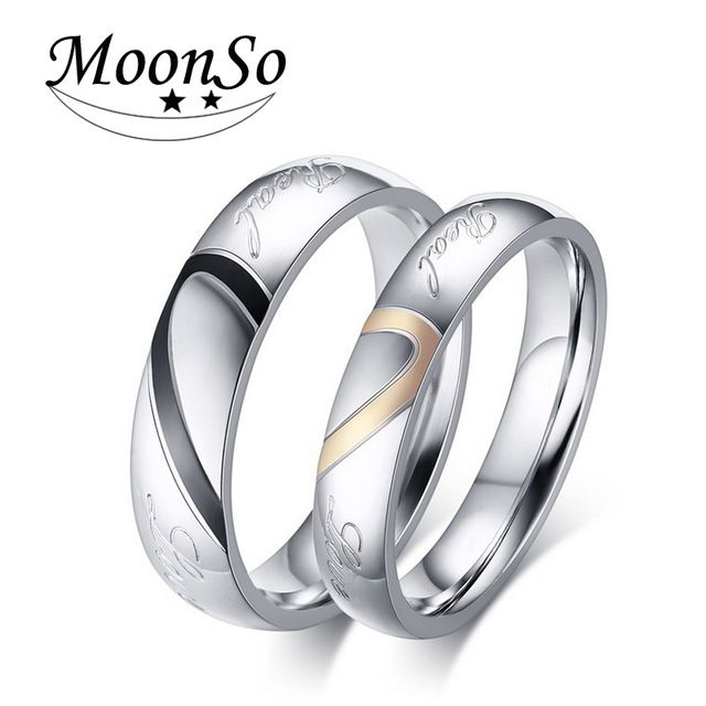 Moonso Couples heart-shaped ring Couple Wedding Ring Sets His and Her Matching for Couple jewelry 2015 new R1957