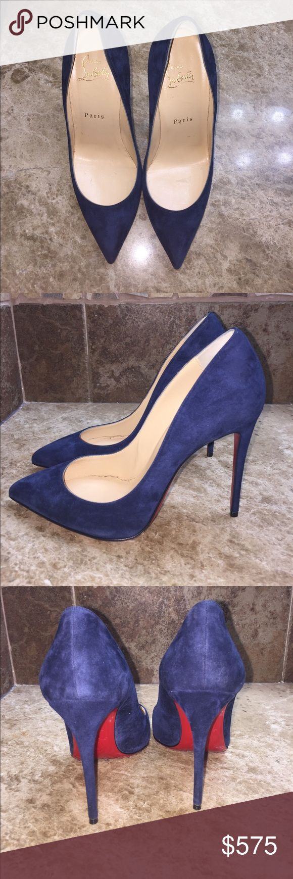 Christian Louboutin Pigalle Follies 100 Navy Blue Christian Louboutin Pigalle Follies 100 Navy Blue suede worn once protect your Pumps clear adhesive applied (no box sold with the shoe bags) Christian Louboutin Shoes Heels