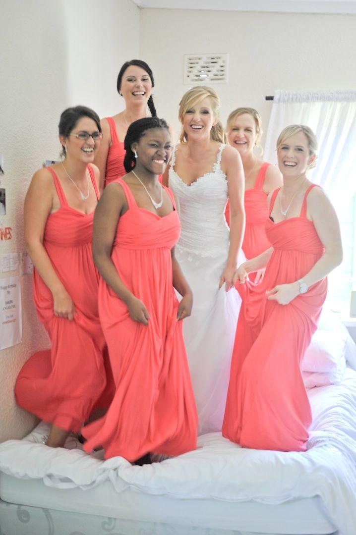 Bridesmaids and brides having fun!!