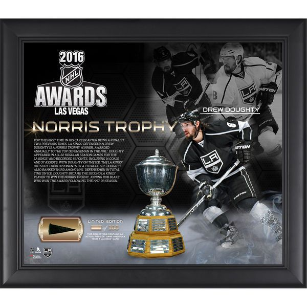 """Drew Doughty Los Angeles Kings Fanatics Authentic Framed 15"""" x 17"""" 2016 Norris Trophy Winner Collage with a Piece of Game-Used Puck - Limited Edition of 100 - $79.99"""