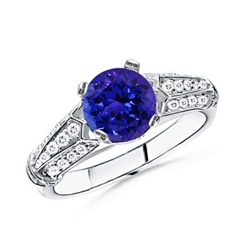 Angara Leaf Carved Shank Tanzanite and Diamond Vintage Ring in 14k White Gold
