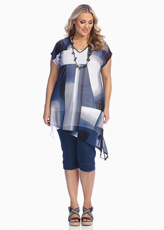 Plus Size Ladies' Tops in Australia - White, Black, Mesh & More - INTO THE BLUE TUNIC