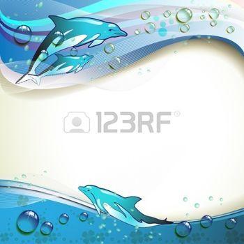 oceaan%3A+Achtergrond+met+dolfijnen+en+druppels+water+