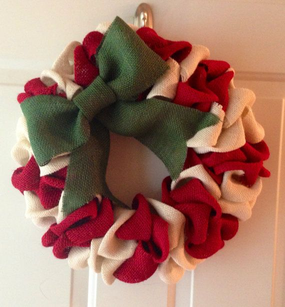 Wonderful Red and White Burlap Christmas Wreath with Green Bow on Etsy, $50.00