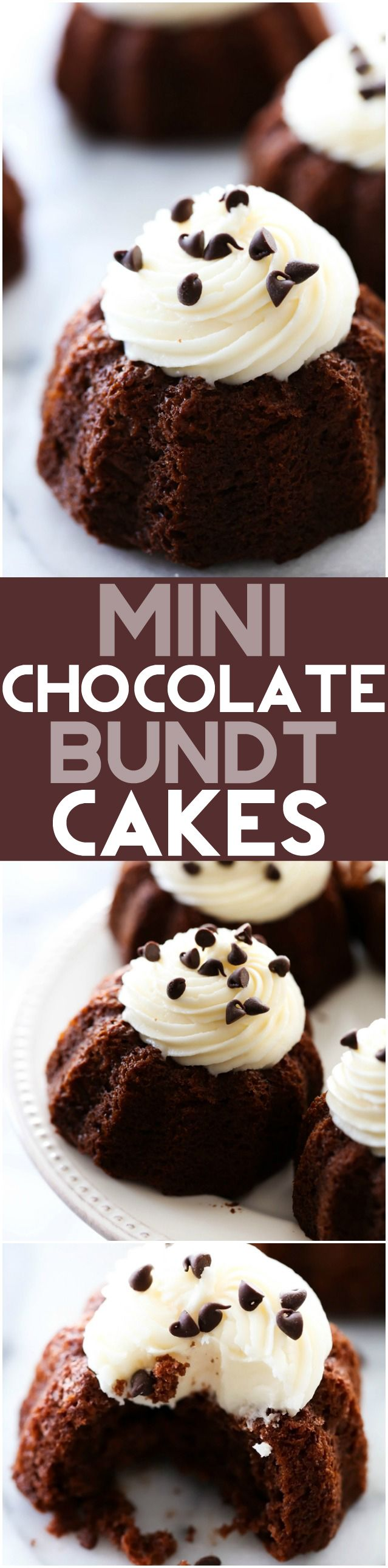 Mini Chocolate Bundt Cakes... These are an extremely moist chocolate cake with a delicious cream cheese frosting on top. It makes for an easy and tasty personal size treat!