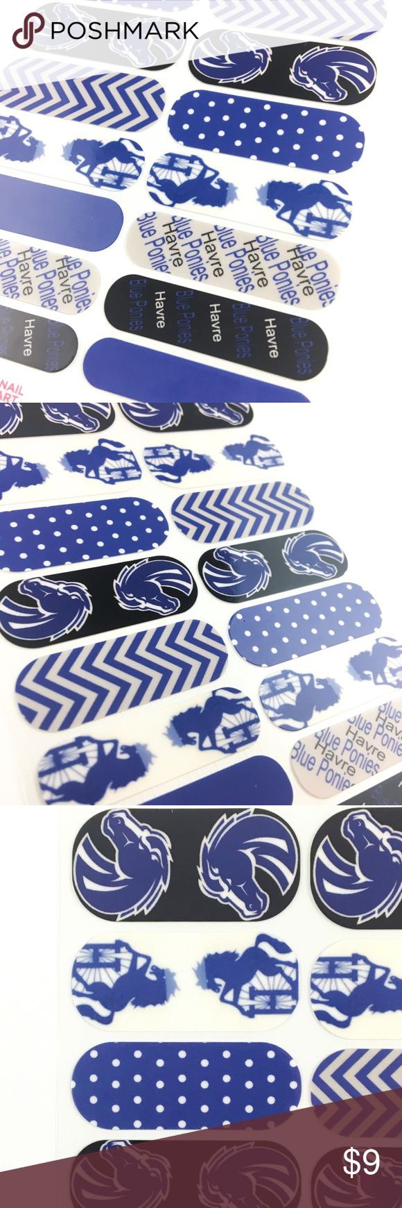Jamberry Custom Blue & White Nail Wrap, Full Sheet Custom designed for the Havre High Blue Blue Ponies, you don't have to be a pony to love these! Five designs in blue, black, gray and white, two feature Havre Blue Ponies writing, one a dark blue with white polka dots, one a solid cobalt, and the last rearing blue horses on a white background!  This Full Sheet includes 18 Nail Wraps; each piece is designed to be used on two nails! Wear them all or make as accents! Can be used on natural or…