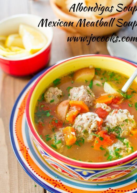 Albondigas soup which is a traditional Mexican meatball soup loaded with vegetables and full of flavor