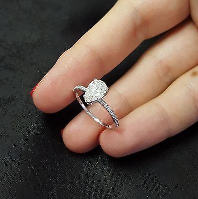 1.07 Carat E/SI Pear Shape Natural Diamond Engagement Ring 14K White Gold