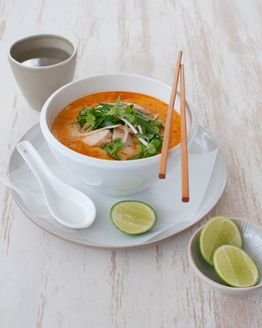 Chicken & Broccolini Laksa  Ingredients12WBT Thai Laksa  1g Olive oil spray  1 tablespoon Laksa paste  2 cups Chicken stock  1 can Light coconut flavoured evaporated milk  200g Raw, lean chicken breast, thinly sliced  1 bunch Broccolini  120g Bean shoot  1/4 bunch Mint  1/4 bunch Fresh coriander  1 medium Lime, cut into wedges to serve  #12wbt #healthy food #recipes