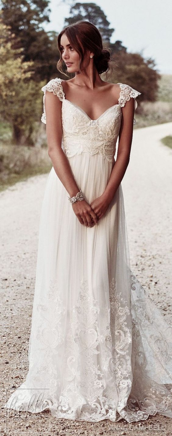 Boho Bohemian A Line Chiffon Wedding Dresses Cap Sleeve Lace Accents Big Bow Bridal Gowns
