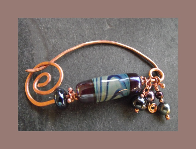 Brooch - Fibula - Shawl Pin - handmade lampwork beads with pure copper £12.50 by Abyjem handcrafted jewellery - made in Cumbria