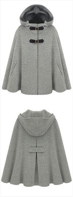 Women's Winter Wool Blend Hooded Cape Cloak Coat