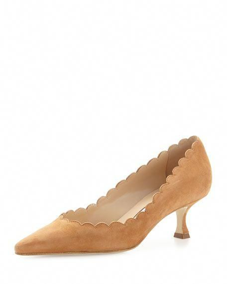 756b7e73a09 Srilasca Scalloped Suede Kitten-Heel Pump by Manolo Blahnik at Neiman  Marcus  ManoloBlahnik