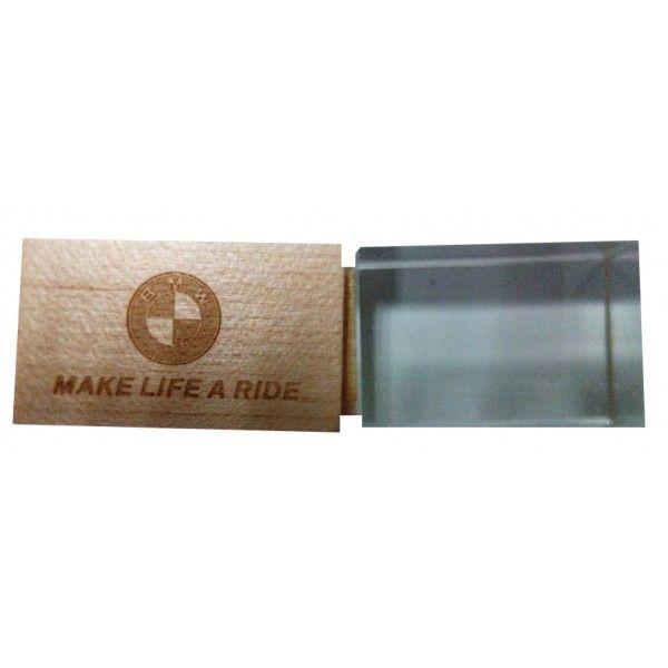 CLE USB BOIS CRISTAL 3D PUBLICITAIRE