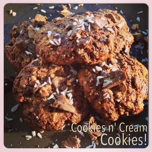 so, these happened! not only are they delicious, but they are chewy and moist! recipe: 1 cup almond flour, 4 scoops of cookies n cream protein powder, 1/4 cup coconut sugar (from @Vitacost.com.com), 1/4 cup honey, 4 tbsp almond milk, 2 tbsp cocoa powder. Bake at 350F at 10 minutes.