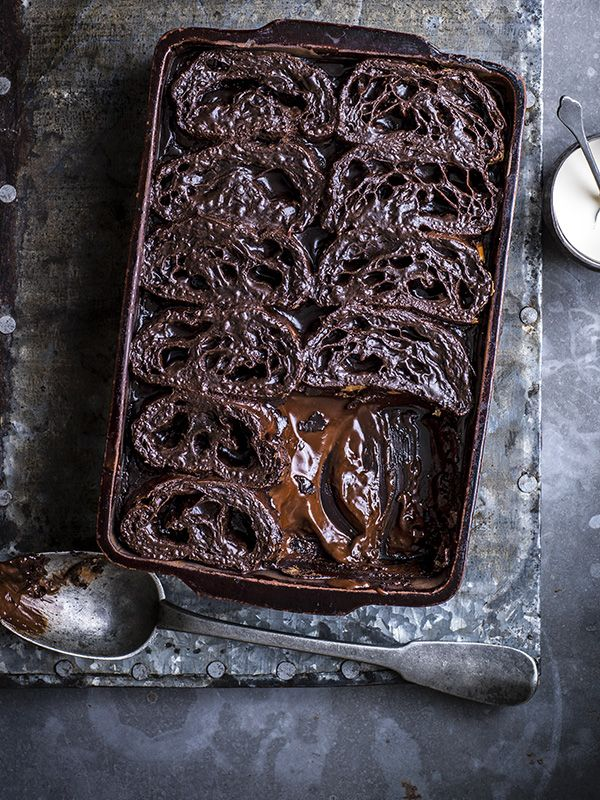 Pain Au Choc Bread and Butter Pudding - This is a real show stopping dessert but it's incredibly easy to make. You can make this indulgent pud with croissants, but then you'd miss out on that extra chocolate hit.